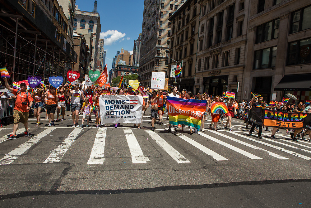 New York, NY - 25 June 2017. New York City Heritage of Pride March filled Fifth Avenue for hours with groups from the LGBT community and it's supporters.Marchers from Everytown, a group lobbying for gun control.