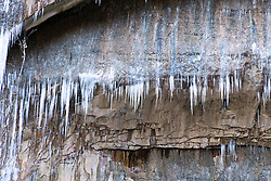Large icicles form over a hiking trail, Zion National Park, Utah, United States of America