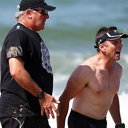 DURBAN, SOUTH AFRICA, December 10. 2015 - Gary Gold (Sharks Director of Rugby) with Johan Pretorius Head Strength & Conditioning Coach during The Cell C Sharks Pre Season Beach South Beach training for the 2016 Super Rugby Season . (Photo by Steve Haag)<br /> images for social media must have consent from Steve Haag