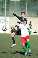 Trival Valderas's Oscar and Real Madrid Castilla´s  Diego Llorente during 2014-15 Spanish Second Division B match between Trival Valderas and Real Madrid Castilla at La Canaleja stadium in Alcorcon, Madrid, Spain. February 01, 2015. (ALTERPHOTOS/Luis Fernandez)