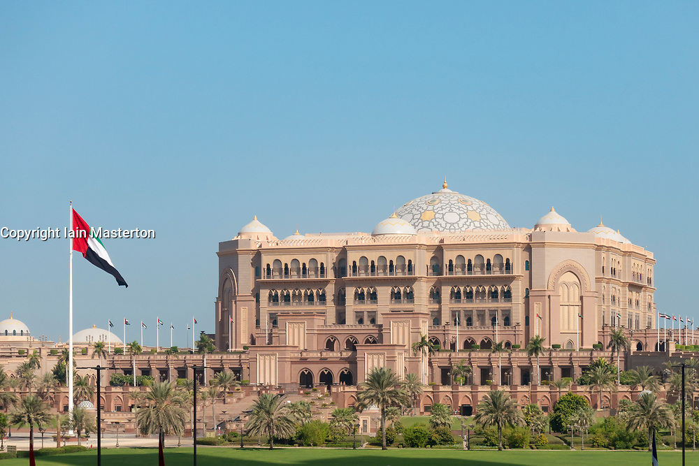 View of luxury Emirates Palace Hotel in Abu Dhabi, UAE, United Arab Emirates