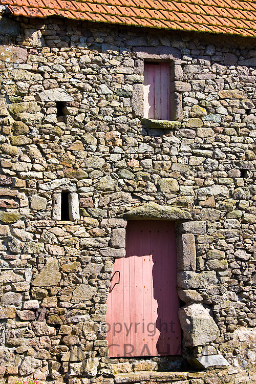 Doorway of stone house at at Cap de la Hague by St Germain Des Vaux in Normandy, France