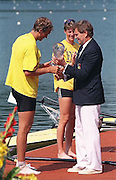 FISA World Cup 1990's, at Lucerne International Regatta, Lake Rotsee, Lucerne SWITZERLAND and Henley Royal Regatta..LUC medal winners Juri JAANSON, CCCP M1X, RUS M1X and XXXX DEN W1X Trine HANSEN with Dennis OSWALD FISA World cup events Lucerne and HRR Pictures from the first World Cup events, Men's and Women's singles 1990/91 FISA World Cup Lucerne and