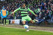 Forest Green Rovers Dan Wishart(17) crosses the ball during the Vanarama National League match between Forest Green Rovers and Torquay United at the New Lawn, Forest Green, United Kingdom on 1 January 2017. Photo by Shane Healey.