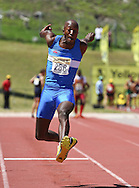BELLVILLE, SOUTH AFRICA, Saturday 3 March 2012, Jason Sewanyana of Western Province in the triple jump for men with a distance of 14.48m during the Yellow Pages Interprovincial held at Bellville Stadium stadium, outside Cape Town..Photo by ImageSA/ASA