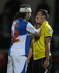 Bristol Rovers' John-Joe OToole goes head to head with Burton Albion's Phil Edwards and is sent off- Photo mandatory by-line: Matt Bunn/JMP - Tel: Mobile: 07966 386802 23/11/2013 - SPORT - Football - Burton - Pirelli Stadium - Burton Albion v Bristol Rovers - Sky Bet League Two