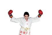 Aggressive female boxer On white Background