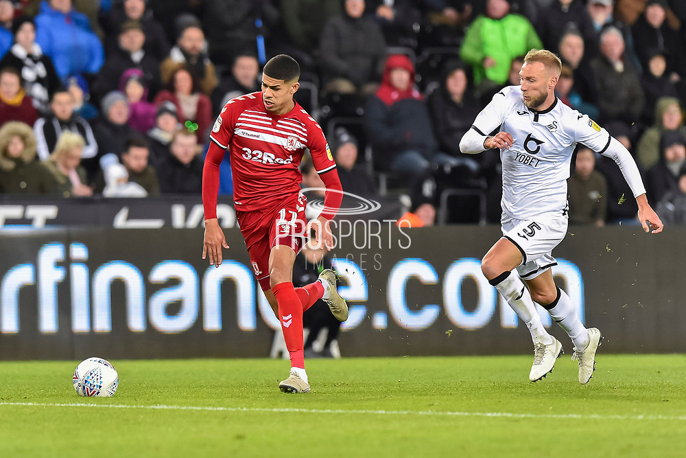 Ashley Fletcher (11) of Middlesbrough on the attack during the EFL Sky Bet Championship match between Swansea City and Middlesbrough at the Liberty Stadium, Swansea, Wales on 14 December 2019.
