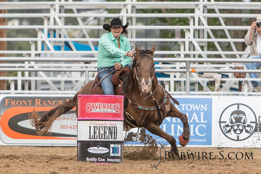 Brittany Fellows makes her barrel racing run during slack at the Elizabeth Stampede on Sunday, June 3, 2018.