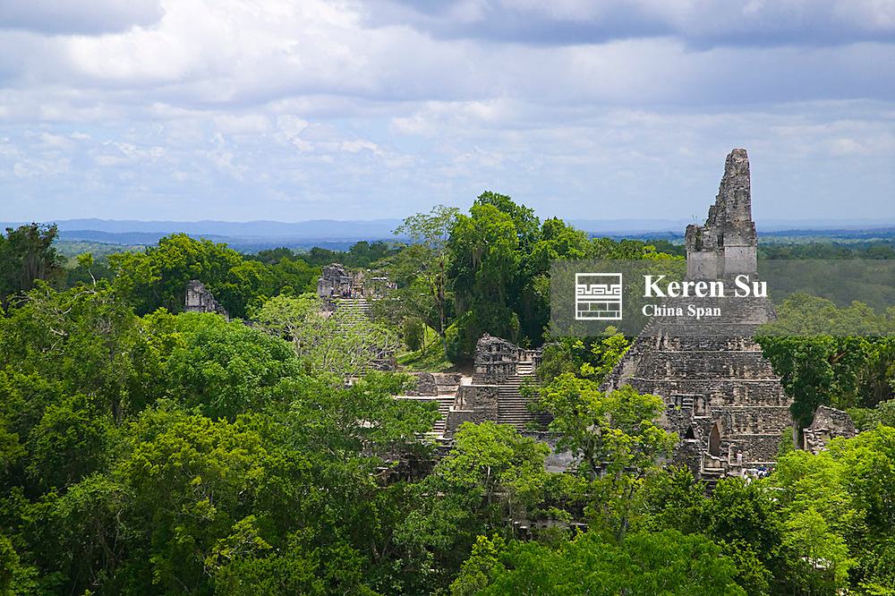 Temple I and North Acropolis in the tropical jungle, Tikal, Guatemala