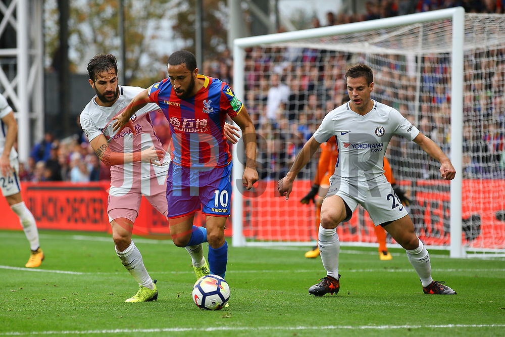 Andros Townsend of Crystal Palace under pressure from Cesc Fabregas of Chelsea and Cesar Azpilicueta of Chelsea - Mandatory by-line: Jason Brown/JMP - 14/10/2017 - FOOTBALL - Selhurst Park - London, England - Crystal Palace v Chelsea - Premier League