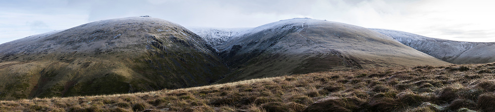 Hen Hole (709m), Northumberland National Park. 13th January 2016. Looking up from Auchope Rigg.
