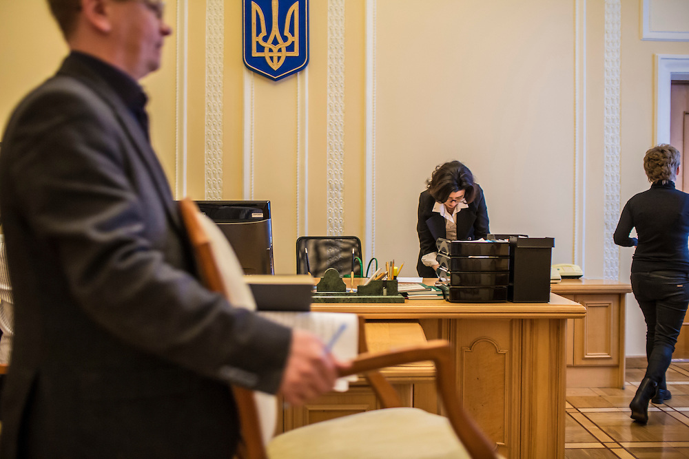 KIEV, UKRAINE - MARCH 4, 2016: Oksana Syroyid, center, deputy speaker of the Ukrainian parliament, works in her office in Kiev, Ukraine. Syroyid is one of parliament's main opponents of the constitutional reforms called for in the Minsk agreement intended to resolve fighting in eastern Ukraine. CREDIT: Brendan Hoffman for The New York Times