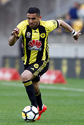 The Phoenix's Ali Abbas runs with the ball against Adelaide United in the A-League football match at Westpac Stadium, Wellington, New Zealand, Sunday, October 08, 2017. Credit:SNPA / Dean Pemberton **NO ARCHIVING**