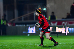Dragons' Dan Babos during the pre match warm up<br /> <br /> Photographer Craig Thomas/Replay Images<br /> <br /> Guinness PRO14 Round 13 - Scarlets v Dragons - Friday 5th January 2018 - Parc Y Scarlets - Llanelli<br /> <br /> World Copyright © Replay Images . All rights reserved. info@replayimages.co.uk - http://replayimages.co.uk