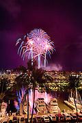 Fourth of July fireworks display, Ala Wai Yacht Harbor, Waikiki, Honolulu, Oahu, Hawaii