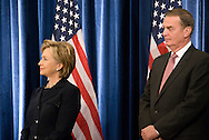 December 1st 2008 - Chicago, IL - Press Conference with newly elected President Barack Obama at the Hilton Hotel in downtown Chicago...Hillary Rodham Clinton and retired Marine General James Jones National Security Advisor, at press conference where Obama announced his security team with Vice President-elect Joe Biden.  Hillary Rodham Clinton was introduced as secretary of state, retired Marine Gen. James Jones as White House national security adviser, Eric Holder as attorney general and Arizona Governor, Janet Napolitano as secretary of homeland security, and United Nations Ambassador Susan Rice. Robert Gates will remain as the defense secretary...Photo Credit: Heather A. Lindquist/Sipa..