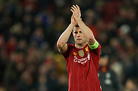 Football - 2019 / 2020 UEFA Champions League - Round of Sixteen, Second Leg: Liverpool (0) vs. Atletico Madrid (1)<br /> <br /> Liverpool's James Milner  applauds the Liverpool fans at the end of the match, at Anfield.<br /> <br /> <br /> COLORSPORT/TERRY DONNELLY