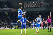 Brighton and Hove Albion (22) Shane Duffy, Crystal Palace #17 Christian Benteke, Brighton and Hove Albion (6) Dale Stephens, Brighton and Hove Albion (2) Bruno during the Premier League match between Brighton and Hove Albion and Crystal Palace at the American Express Community Stadium, Brighton and Hove, England on 28 November 2017. Photo by Sebastian Frej.