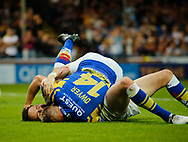 Richie Myler of Leeds Rhinos scores the try against Wakefield Trinity during the Betfred Super League match at Emerald Headingley Stadium, Leeds<br /> Picture by Stephen Gaunt/Focus Images Ltd +447904 833202<br /> 13/07/2018