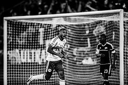 HARRISON, NJ - APRIL 20: Thierry Henry #14 of New York Red Bulls reacts after scoring a goal in the second half against the New England Revolution at Red Bulls Arena on April 20, 2013. (Photo By: Rob Tringali)