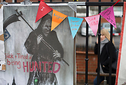 © Licensed to London News Pictures. 09/03/2016. London, UK.  A poster and bunting mocking Health secretary Jeremy Hunt is seen as doctors picket St George's hospital in Tooting. Junior doctors are continuing their strike action after the government said it intended to impose a new employment contract. Photo credit: Peter Macdiarmid/LNP
