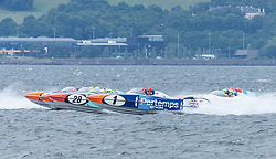 The P1 Scottish Grand Prix of the Sea is the second of four events across the UK for the P1 Powerboat Championship taking place at Greenock.<br /> <br /> <br /> Pictured: Pertemps Network team and Milford Waterfront Pembrokeshire Panther team
