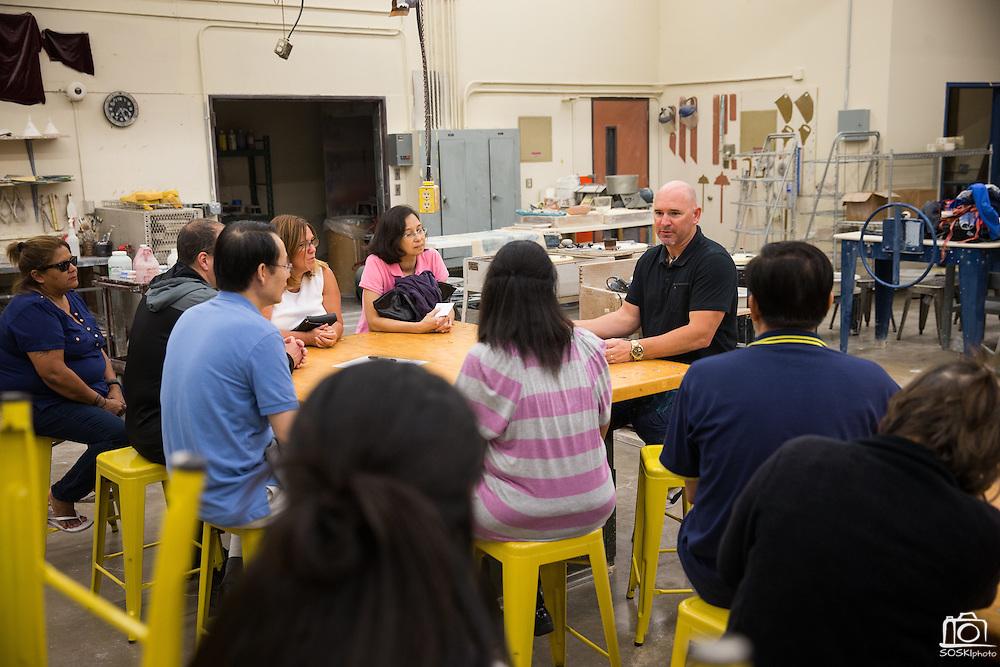 Ceramics teacher Jeff Albrecht during Back To School Night at Milpitas High School in Milpitas, California, on August 30, 2016. (Stan Olszewski/SOSKIphoto)