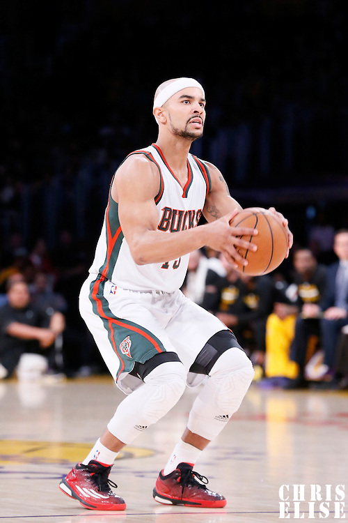 27 February 2015: Milwaukee Bucks guard Jerryd Bayless (19) eyes the basket during the Los Angeles Lakers 101-93 victory over the Milwaukee Bucks, at the Staples Center, Los Angeles, California, USA.