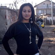 A Roma teenage girl in the Roma ghetto Fakulteta Mahala in Sofia, Bulgaria.