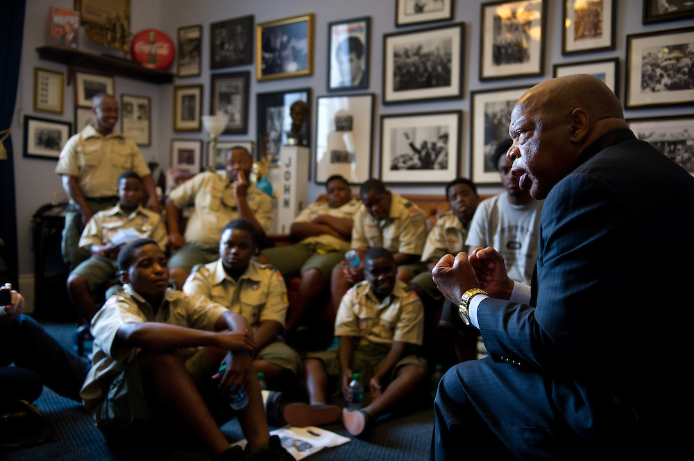 """U.S. Rep. John Lewis, D-Georgia, who marched with the Rev. Martin Luther King Jr. on """"Bloody Sunday"""" in Selma in 1965, speaks about his experiences with the civil rights movement to Boy Scout Troop 772 at his office in Washington, D.C. on July 23, 2014. (XAVIER MASCAREÑAS/TREASURE COAST NEWSPAPERS)"""