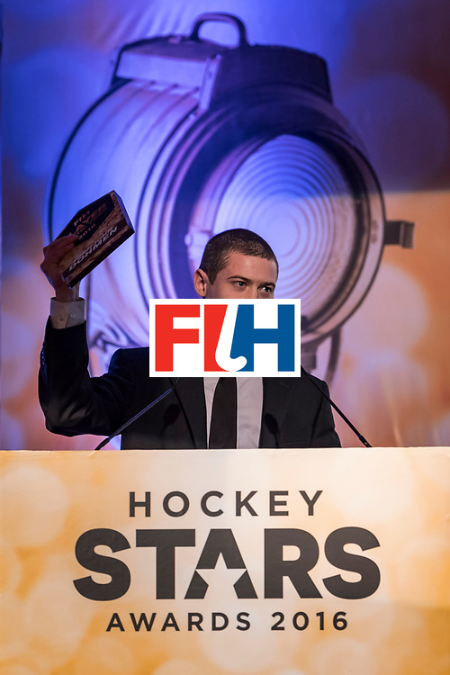 CHANDIGARH, INDIA - FEBRUARY 23: Winner of the FIH Male Player of the Year John-John Dohmen of Belgium speaks during the FIH Hockey Stars Awards 2016 at Lalit Hotel on February 23, 2017 in Chandigarh, India. (Photo by Ali Bharmal/Getty Images for FIH)