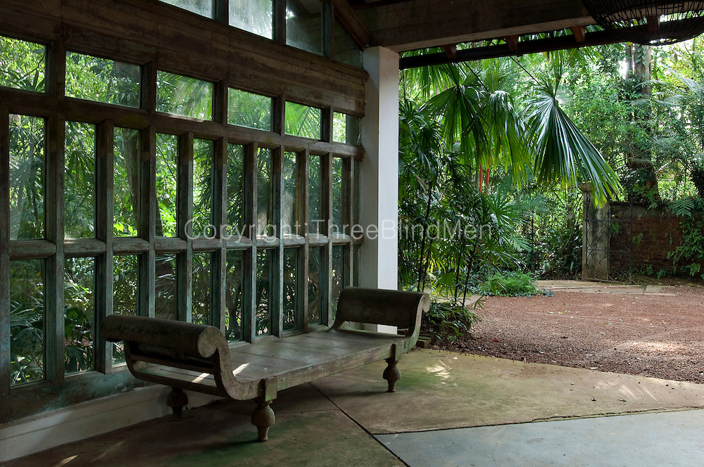 Looking back towards the driveway from the carport.<br /> LUNUGANGA. Geoffrey Bawa's country house and garden.