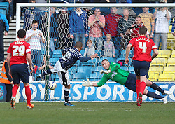 GOAL Millwall's Simeon Jackson scores his sides second goal from the penalty spot to make it 2-1 - Photo mandatory by-line: Robin White/JMP - Tel: Mobile: 07966 386802 29/03/2014 - SPORT - FOOTBALL - The Den - Millwall - Millwall v Blackburn Rovers - Sky Bet Championship