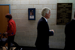 South Jersey power broker George Norcross walks through the hallway adjacent to a May 11, 2016 campaign stop of presumable presidential candidate Hillary Clinton as she rallies at a public event at Camden County College in blackwood, Gloucester Township, NJ.