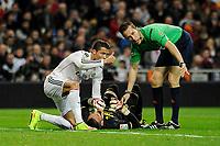 Real Madrid´s Cristiano Ronaldo and the referee Jose Maria Sanchez Santos worried Villarreal CF´s goalkeeper Sergio Asenjo during 2014-15 La Liga match between Real Madrid and Villarreal CF at Santiago Bernabeu stadium in Madrid, Spain. March 01, 2015. (ALTERPHOTOS/Luis Fernandez)