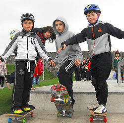 Adam Radmall, James McStravick and Harry Radmall athe opening of the Greenway park...Pic Conor McKeown