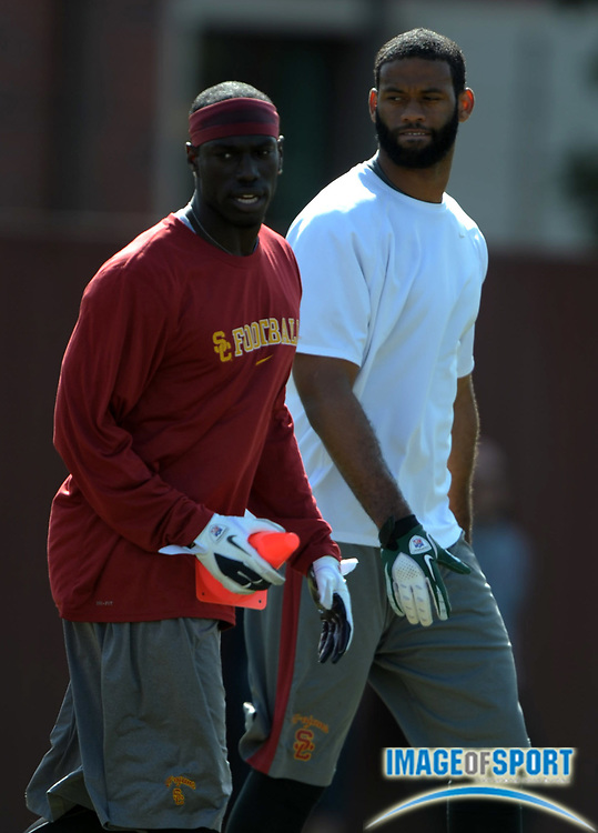 Apr 5, 2012; Los Angeles, CA, USA; Southern California Trojans  former receivers Damian Williams (left) and Patrick Turner at spring practice at Howard Jones Field.