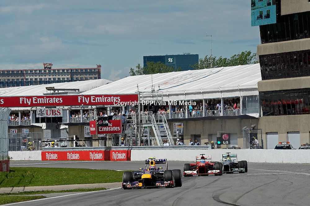 MOTORSPORT - F1 2013 - GRAND PRIX OF CANADA - MONTREAL (CAN) - 07 TO 09/06/2013 - PHOTO ERIC VARGIOLU / DPPI ROSBERG NICO (GER) - MERCEDES GP MGP W04 - ACTION<br /> WEBBER MARK (AUS) - RED BULL RENAULT RB9 - ACTION<br /> ALONSO FERNANDO (SPA) - FERRARI F138 - ACTION