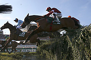 Winner of the 2019 Grand National Tiger Roll and jockey Davey Russell clear the Water Jump during the 5:15pm The Randox Health Grand National Steeple Chase (Grade 3) 4m 2f during the Grand National Meeting at Aintree, Liverpool, United Kingdom on 6 April 2019.