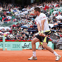 7 June 2009: Robin Soderling of Sweden eyes the ball as he prepares a backhand during the Men's Singles Final match on day fifteen of the French Open at Roland Garros in Paris, France.