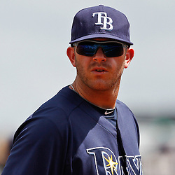March 21, 2012; Port Charlotte, FL, USA; Tampa Bay Rays third baseman Evan Longoria (3) in the field during the top of the first inning of a spring training game against the New York Yankees at Charlotte Sports Park.  Mandatory Credit: Derick E. Hingle-US PRESSWIRE