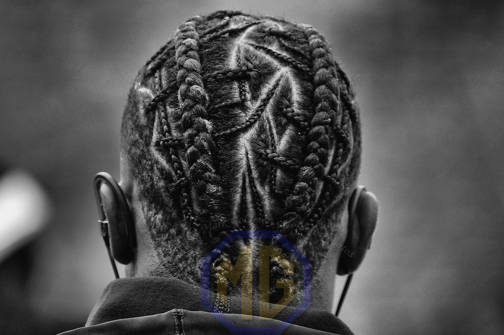 02 October 2016:   A detailed look at the braids of Washington Redskins wide receiver DeSean Jackson (11) prior to the game against the Cleveland Browns at FedEx Field, in Landover, MD. (Photo by Mark Goldman/Icon Sportswire)