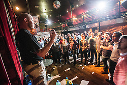 Tommy Blom addresses the seminar. IKMS 'In The Club' seminar with KMG Global Team Instructor and Expert Level 5, Tommy Blom, at the Buff Club in Glasgow's City Centre. Bringing Krav Maga training out with the confines of the gym into a real nightclub/bar.<br /> &copy; Michael Schofield.