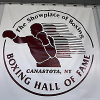 The logo on stage during the 23rd Annual International Boxing Hall of Fame Induction ceremony at the International Boxing Hall of Fame on Sunday, June 10, 2012 in Canastota, NY. (AP Photo/Alex Menendez)