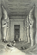 Limestone statues of Ramses II in main temple at Abu Simbel.  Each holds crook and flail, symbols of kingship.   Lithograph after Jules Goury (1803-1834) French Architect. Archaeology Religion Mythology Ancient Egyptian