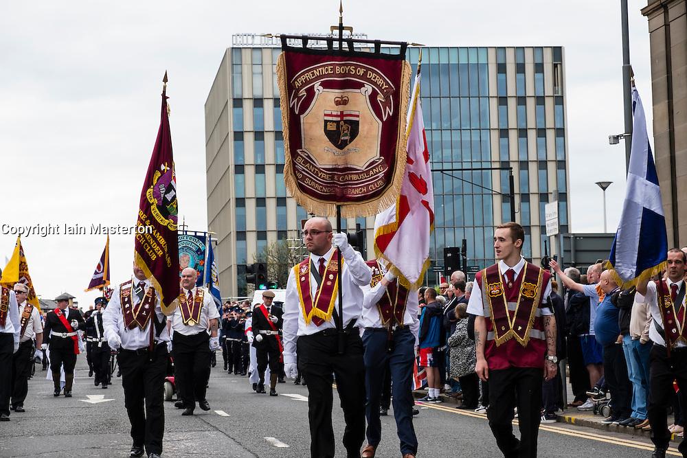 Traditional Orange Walk parade in central Glasgow , Scotland, United Kingdom