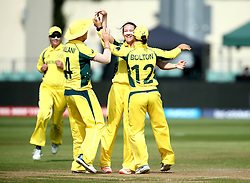 Megan Schutt of Australia Women celebrates with teammates after taking the wicket of Lauren Winfield of England - Mandatory by-line: Robbie Stephenson/JMP - 09/07/2017 - CRICKET - Bristol County Ground - Bristol, United Kingdom - England v Australia - ICC Women's World Cup match 19
