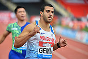 Adam Gemili (GBR) after winning his heat of the men's 100m in a time of 10.08 during the Birmingham Grand Prix, Sunday, Aug 18, 2019, in Birmingham, United Kingdom. (Steve Flynn/Image of Sport)