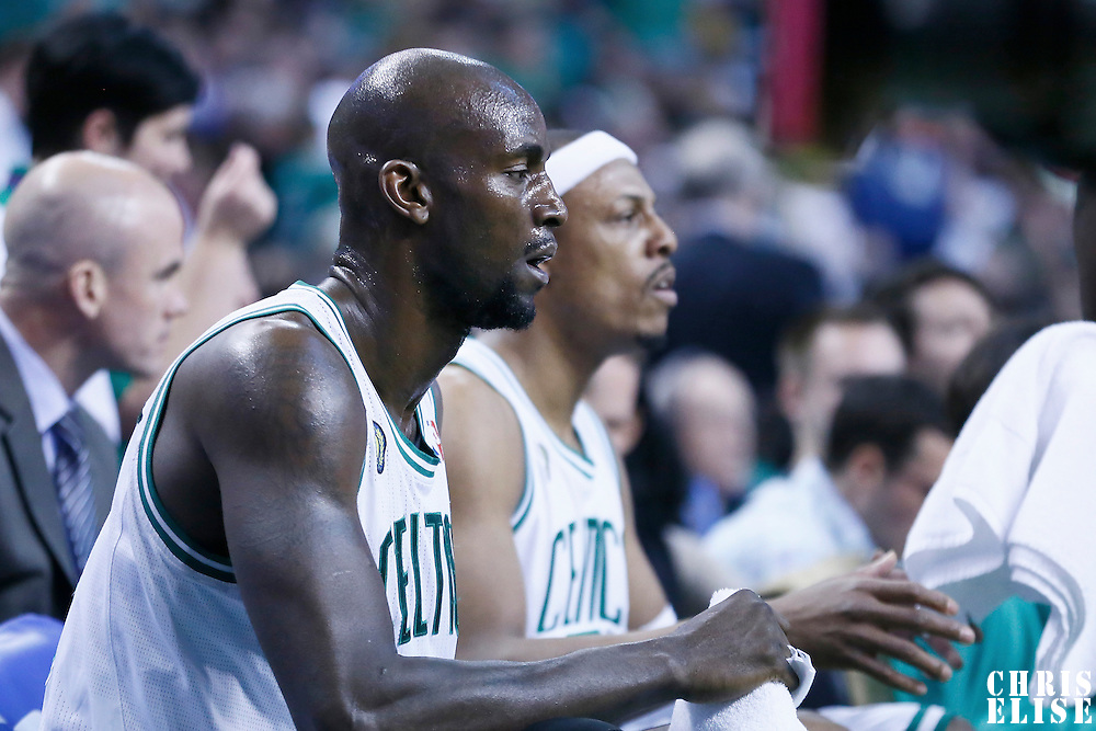 28 April 2013: Boston Celtics center Kevin Garnett (5) is seen on the bench during Game Four of the Eastern Conference Quarterfinals of the 2013 NBA Playoffs at the TD Garden, Boston, Massachusetts, USA.
